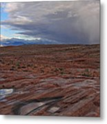 Waterpockets And Storm At The Valley Of Fire Metal Print