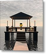 Waterside Gazebo Metal Print