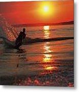 Waterskiing At Sunset Metal Print