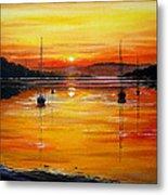 Watery Sunset At Bala Lake Metal Print