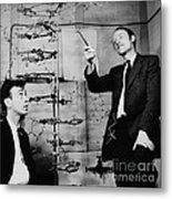 Watson And Crick With Dna Model Metal Print