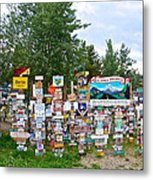 Watson Lake Sign Forest Along Alaska Highway In  Yukon-canada Metal Print