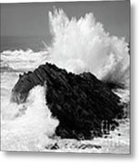 Wave At Shore Acres Bw Metal Print