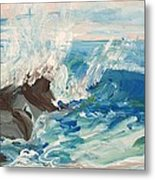 Wave At Sunset Beach Metal Print