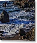 Wave Breaking On Rock Metal Print by Garry Gay