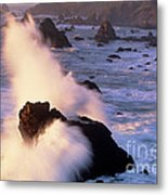 Wave Crashing On Sea Mount California Coast Metal Print