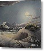 Waves And  Moonlight Metal Print