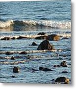 Waves And Rocks Metal Print