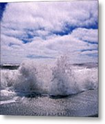 Waves Breaking At The Coast, Iceland Metal Print