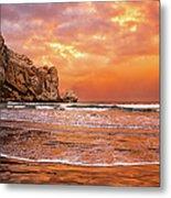 Waves Breaking On Beach At Sunrise Metal Print