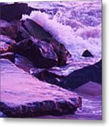 Waves  Breaking  On Jetties  Metal Print