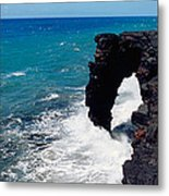 Waves Breaking On Rocks, Hawaii Metal Print