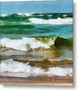 Waves Crash Metal Print