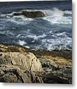Waves Crashing Against The Shore In Acadia National Park Metal Print