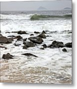 Waves Crashing On Copacabana Beach In Metal Print