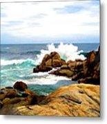 Waves Crashing On Shoreline Rocks Metal Print
