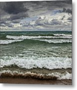 Waves Crashing On The Shore In Sturgeon Bay At Wilderness State Park Metal Print