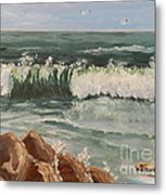 Waves Crashing Metal Print