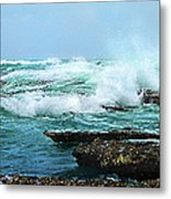 Waves Hitting Shore Metal Print