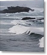 Powerful Waves Coming Ashore In San Juan # 1 Metal Print