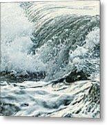 Waves In Stormy Ocean Metal Print