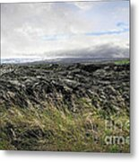 Waves Of Clouds Sea Lava And Grass Metal Print