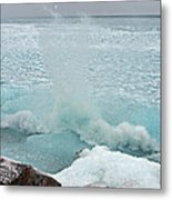 Waves Of Pancake Ice Crashing Ashore Metal Print