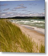 Waves Of Water And Grass Metal Print by Thomas Pettengill