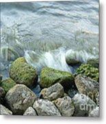 Waves On Mossy Rocks 2 Metal Print