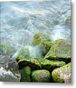 Waves On Mossy Rocks Metal Print
