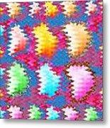 Waves Pattern Crystals Jewels Rose Flower Petals Metal Print
