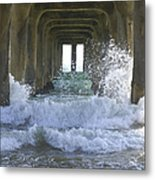 Waves Under The Pier Portrait Metal Print