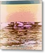 Waves With Sunset Metal Print