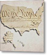We The People - Us Constitution Map Metal Print