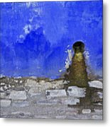 Weathered Blue Wall Of Old World Europe Metal Print