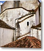 Weathered Buildings Of The Medieval Village Of Obidos Metal Print
