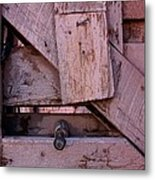 Weathered Gate With Lock And Chain Metal Print