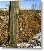 Weathered Old Fence Post Metal Print