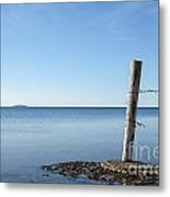 Weathered Old Wooden Pole Metal Print