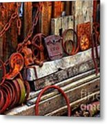 Weathered Rims And Chains Metal Print
