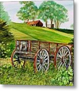 Weathered Wheels Metal Print
