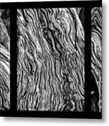 Weathered Wood Triptych Bw Metal Print