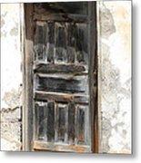 Weathered Wooden Gray Door Metal Print