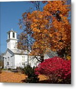 Webster Church On A Fall Day Metal Print