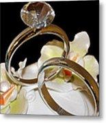 Wedding Cake Rings Black Metal Print