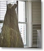 Wedding Dress And Veil By The Window Metal Print by Mike Hope