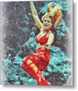 Weeki Wachee Mermaid Metal Print