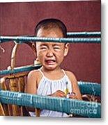 Weeping Baby In His Buggy Metal Print