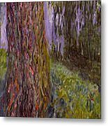 Weeping Willow And The Waterlily Pond Metal Print