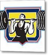 Weightlifter Lifting Heavy Barbell Retro Metal Print